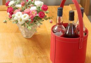 MIDIPY - porte bouteilles en cuir rouge - Minibar