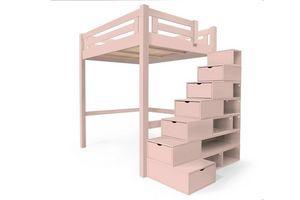 ABC MEUBLES - abc meubles - lit mezzanine alpage bois + escalier cube hauteur réglable rose pastel 160x200 - Andere Verschiedene Schlafzimmermöbel