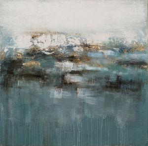IMAGELAND - abstract in gold, rose and blue - Zeitgenössische Gemälde