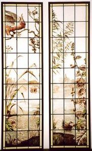 L'Antiquaire du Vitrail - perroquet et rose trémière - Buntglasfenster