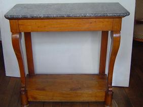 Courcelles Antiquités - console restauration - Konsole Mit Schublade