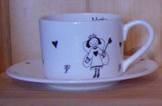 Bee Taylor Ceramics - straight teacup and saucer - Teetasse