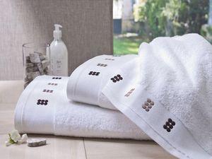 BLANC CERISE - drap de douche blanc et sable - coton peigné 600 g - Handtuch