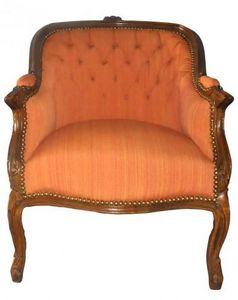 Demeure et Jardin - fauteuil bergère lin orange - Bergère Sessel