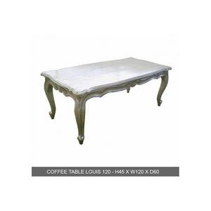 DECO PRIVE - table basse baroque bois argente 120 cm - Rechteckiger Couchtisch