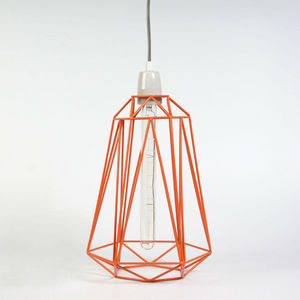 Filament Style - diamond 5 - suspension orange câble gris ø21cm | l - Deckenlampe Hängelampe