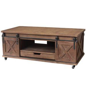 CHEMIN DE CAMPAGNE - grande table basse de salon bois fer porte à roule - Rechteckiger Couchtisch