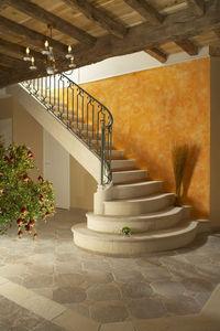Occitanie Pierres - habillage d'escalier auberoche sable - Viertelgewendelte Treppe
