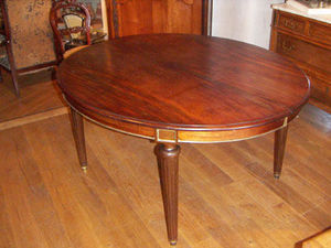 ANTIQUITES THUILLIER - table ovale acajou +allonges - Ovaler Esstisch