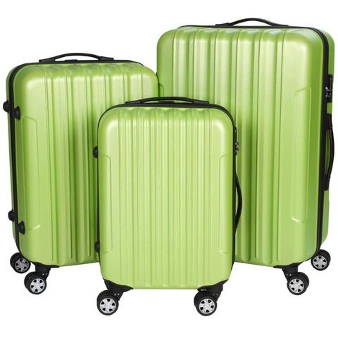 WHITE LABEL - Rollenkoffer-WHITE LABEL-Lot de 3 valises bagage rigide vert