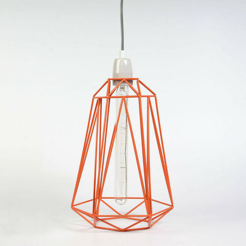 Filament Style - Deckenlampe Hängelampe-Filament Style-DIAMOND 5 - Suspension Orange câble Gris Ø21cm | L