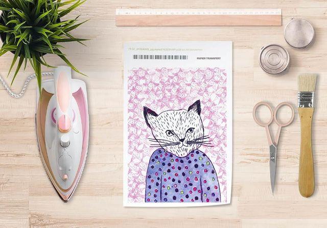 la Magie dans l'Image - Verlegung-la Magie dans l'Image-Papier transfert Mon Petit Chat Fond Rose