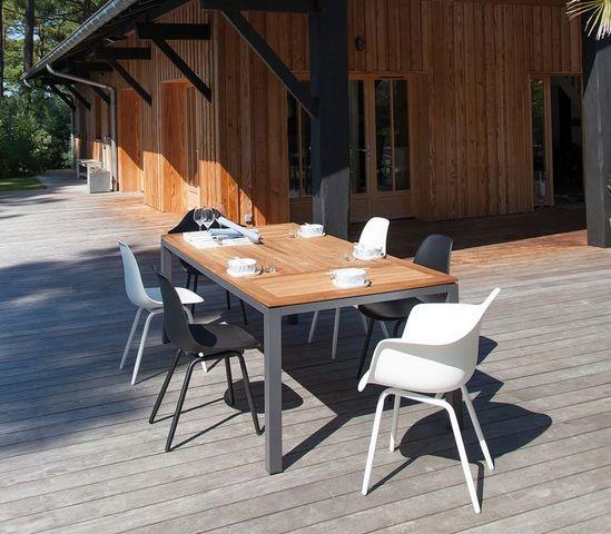 PROLOISIRS - Gartentisch-PROLOISIRS-Table en aluminium et teck Tempo 180 cm