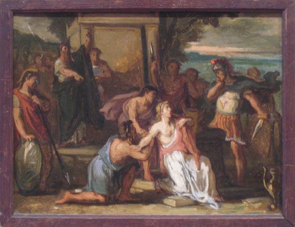 Galerie Emeric Hahn - Ölgemelde auf Leinwand und Holztafel-Galerie Emeric Hahn-Le sacrifice de la fille de Jephté