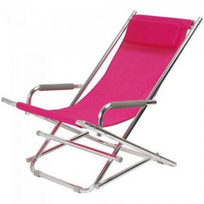 La Chaise Longue - Liegestuhl-La Chaise Longue-Transat pliant rose Rocking-Chair Alu