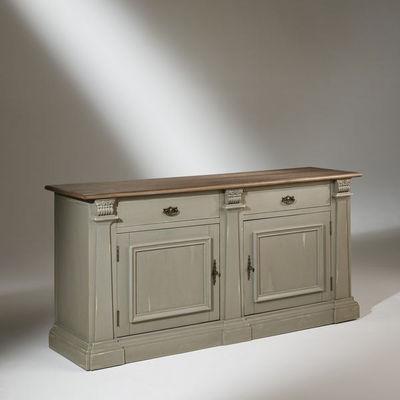 Robin des bois - Anrichte-Robin des bois-Buffet plateau chêne, 2 portes, 2 tiroirs,  patine
