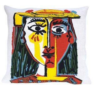 Jules Pansu - head oth woman with hat - Cojín Cuadrado