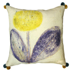 Sugarboo Designs - pillow collection - yellow flower with poms - Cojín Para Niño