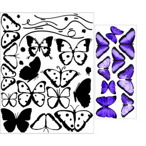 ALFRED CREATION - sticker papillons violets - Pegatina
