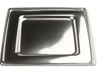Adiserve - assiette carrée argent 24 cm par 6 dimension 24 cm - Vajilla Desechable Navidad Y Fiestas