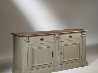 Robin des bois - buffet plateau chêne, 2 portes, 2 tiroirs, patine - Aparador Bajo