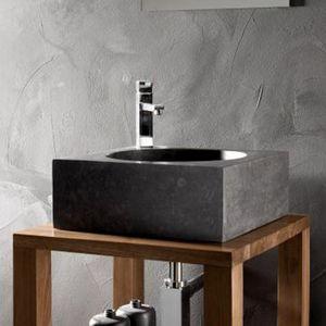 Rue du Bain - vasque à poser carrée pierre noire, 40 x 40 cm, fo - Lavabo De Apoyo