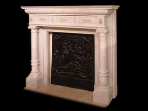 Abj Cheminees Anciennes - cheminée marbre et onyx - Chimenea De Hogar Cerrado