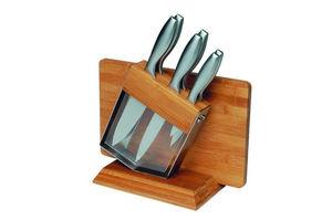 DM CREATION - bloc 6 couteaux avec planche à découper en bambou  - Bloque De Cuchillos