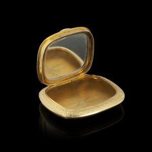 Expertissim - petit poudrier en or jaune, monté en pendentif - Espejo De Bolsillo