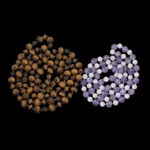 Expertissim - deux sautoirs en perles d'oeil de tigre, améthyst - Collar