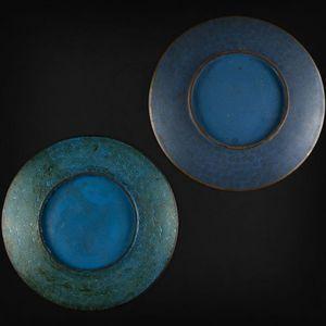 Expertissim - deux coupes en bronze et émaux cloisonnés à décor  - Plato Hondo
