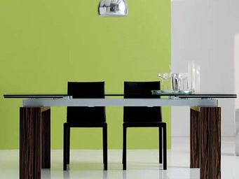 CLEAR SEAT - table en verre noire à rallonge extensible cuba - Mesa Extensible