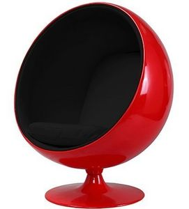 STUDIO EERO AARNIO - fauteuil ballon aarnio coque rouge interieur noir  - Sillón Y Puf