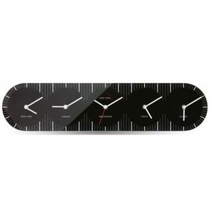 Present Time - horloge world en verre noire - Reloj De Pared