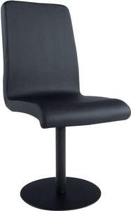 KOKOON DESIGN - chaise unicolore en simili-cuir noir et métal pein - Silla