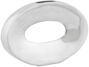 KOKOON DESIGN - vase ovale horizontal en aluminium poli 32x5x21cm - Búcaro