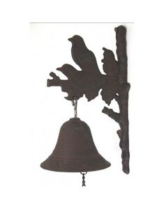 L'HERITIER DU TEMPS - cloche sur crédence murale oiseaux - Campana De Exterior