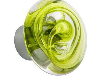 Les Verreries De Brehat - tubes de bulles disque vert - Botón De Puerta
