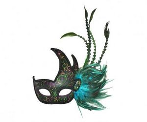 Demeure et Jardin - masque 1/2 lune vert à plumes - Máscara
