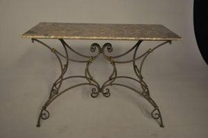 Demeure et Jardin - table rectangulaire plateau marbre - Mesa De Comedor Rectangular