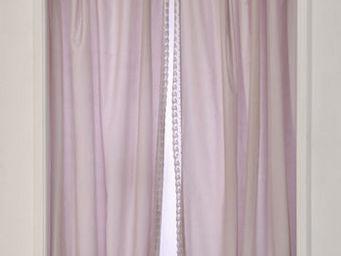 Coquecigrues - paire de rideaux frivolité rose - Cortina Confeccionada