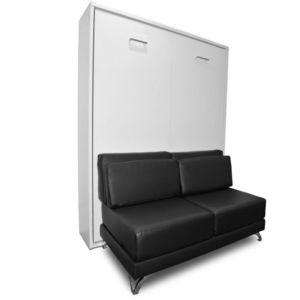 WHITE LABEL - armoire lit escamotable town canapé noir intégré c - Cama Plegable