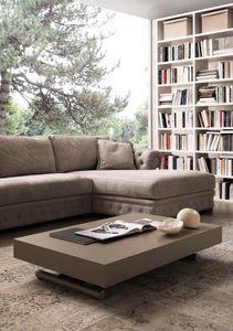 WHITE LABEL - table basse relevable extensible block design taup - Mesa De Centro De Altura Regulable
