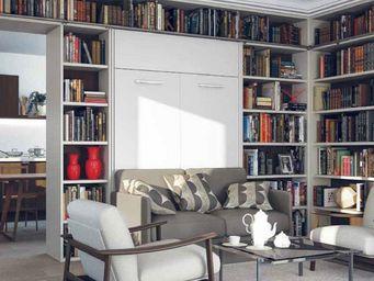 WHITE LABEL - armoire lit à ouverture assistée traccia 160 blanc - Armario Cama