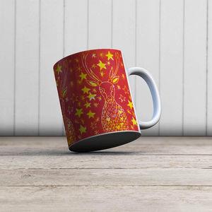 la Magie dans l'Image - mug cerf etoilé rouge - Taza