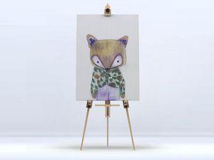 la Magie dans l'Image - toile mon petit renard vert - Impresión Digital Sobre Tela