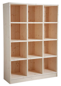 Aubry-Gaspard - bibliothèque 12 cases en épicéa brut - Librería Abierta