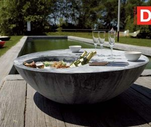 DOMANI - zinc cool table - Mesa Baja De Jardín