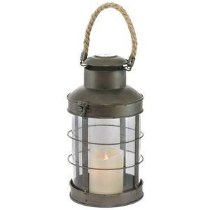 CHEMIN DE CAMPAGNE - lanterne à bougie tempête fer verre et corde 31 cm - Linterna