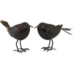 CHEMIN DE CAMPAGNE - statue sculpture couple d'oiseaux marron en fer d - Ornamento De Jardín